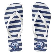 USD | Est. 1949 - Stripe Pattern Flip Flops