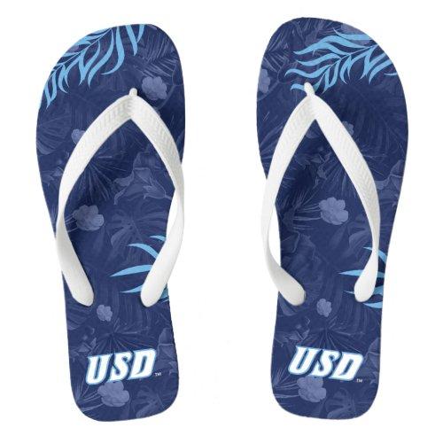 USD Tropical Floral Pattern Flip Flops