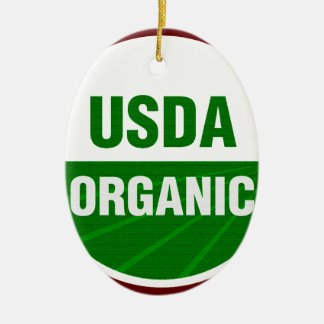 USDA Organic certificate Double-Sided Oval Ceramic Christmas Ornament
