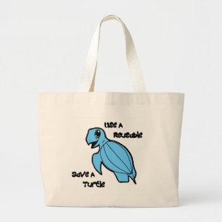 Use a Reusable - Save a Turtle Canvas Bag