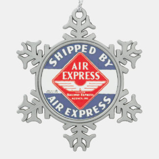 Use Air Express by Railway Express Agency Snowflake Pewter Christmas Ornament