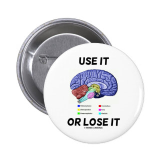 Use It Or Lose It (Brain Anatomy Humor Saying) Pinback Button