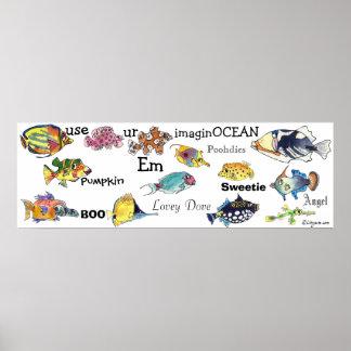 Use ur ImagineOCEAN cartoon fish banner Med Poster