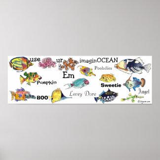 Use ur ImaginOCEAN cartoon fish banner Small Poster