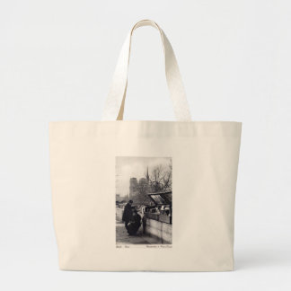Used Book Sellers, Notre Dame Paris Large Tote Bag