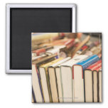 Used books at a rummage sale 2 inch square magnet