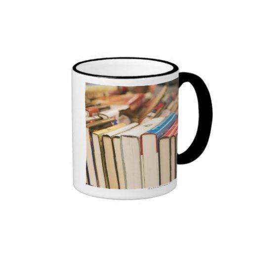 Used books at a rummage sale ringer coffee mug