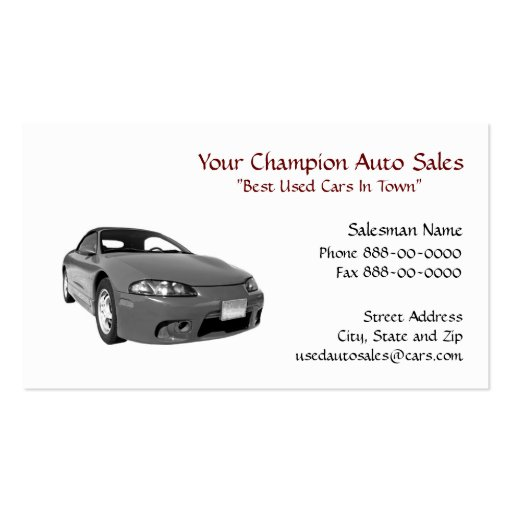 Used car dealer business card zazzle for Car sales business cards