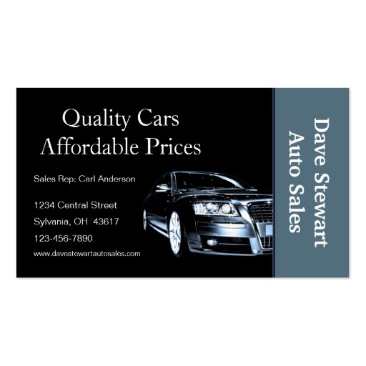 Used car dealer double sided standard business cards pack for Auto sales business cards