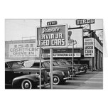 Used Car Lot Vintage Hollywood California Cards