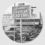 Used Car Lot Vintage Hollywood California Round Sticker