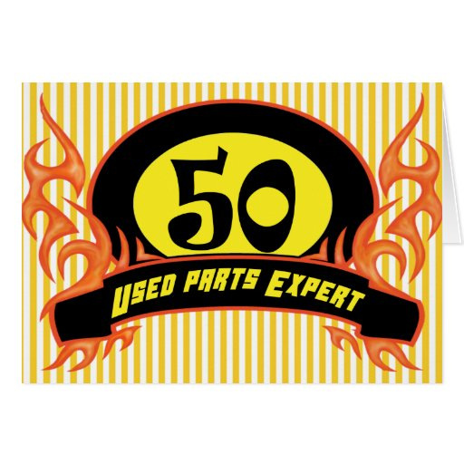 Used Parts 50th Birthday Party Invitations Cards