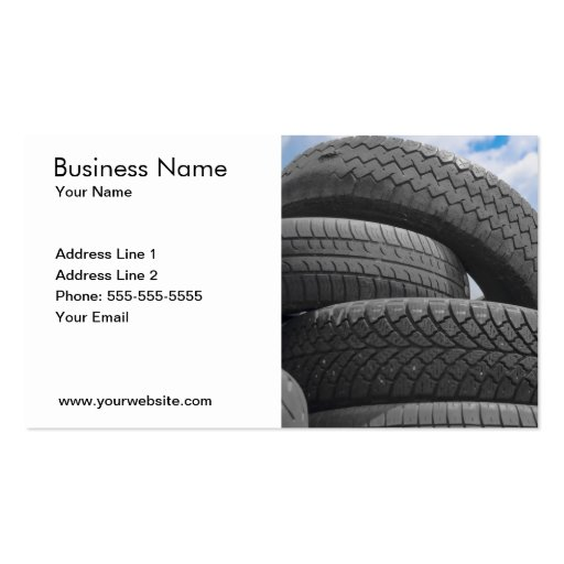 Used tires business card zazzle for Tire shop business cards
