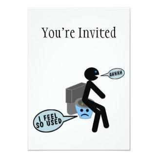 """Used Toilet 5"""" X 7"""" Invitation Card"""