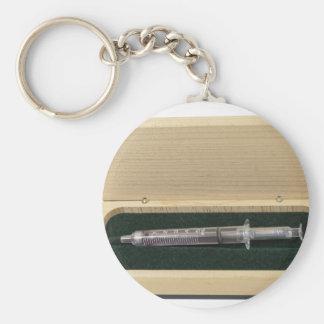 UsedSyringeWoodenBox070111 Basic Round Button Keychain