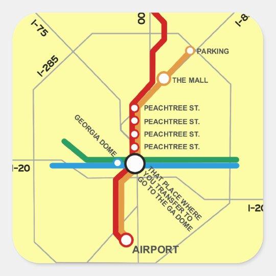 Useful Atlanta Subway Map Square Sticker Zazzle Com