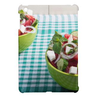 Useful vegetarian food from raw tomatoes, cucumber case for the iPad mini