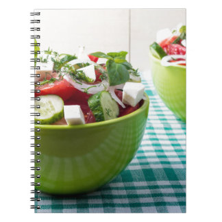 Useful vegetarian food from raw tomatoes, cucumber notebook