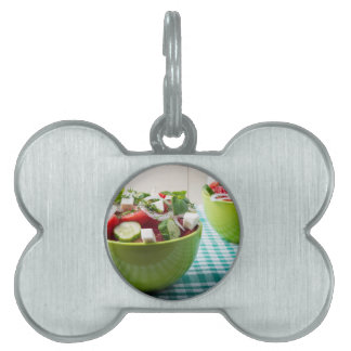 Useful vegetarian food from raw tomatoes, cucumber pet name tag
