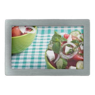Useful vegetarian food from raw tomatoes, cucumber rectangular belt buckle
