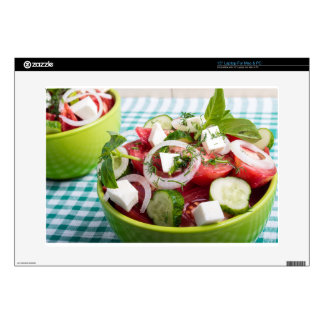 Useful vegetarian salad with raw tomatoes decals for laptops