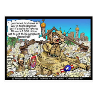 """Useless Pamplets"" Iraq War Cartoon Gifts & Tees Postcard"