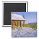 USFS Schnauss Cabin rental in Winter ovelooking 2 Inch Square Magnet
