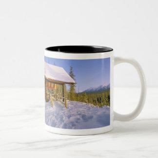 USFS Schnauss Cabin rental in Winter ovelooking Coffee Mugs