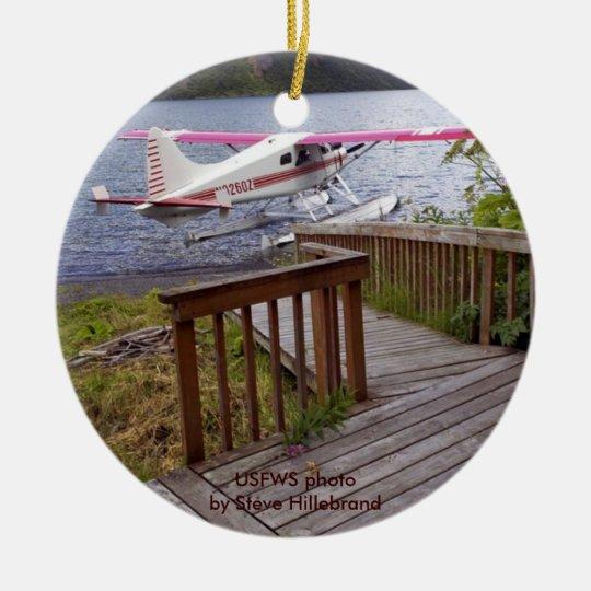 USFWS Uganik lake Cabin Deck & Floatplane Ceramic Ornament