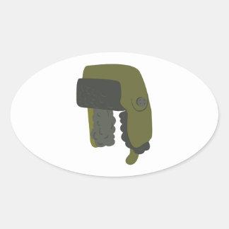 Ushanka Hat Oval Sticker
