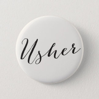 Usher Calligraphy Wedding Bridal Party Button