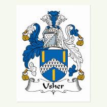 Usher Family Crest Postcard