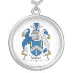 Usher Family Crest Silver Plated Necklace