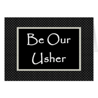 USHER  Invitation  with Checked Border Greeting Card