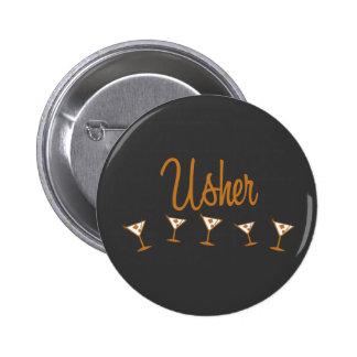 Usher Martini Orange Pinback Button