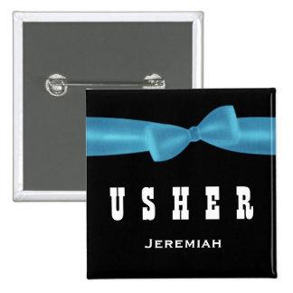 USHER Wedding Custom Name V02R BLUE Button