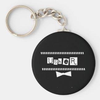 Usher White on Black Basic Round Button Keychain