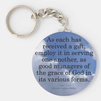 Using Gifts from God 1 Peter 4:10 Basic Round Button Keychain