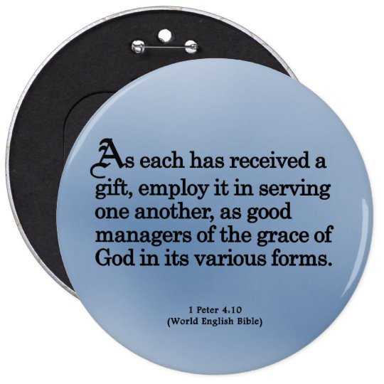 Using Gifts from God 1 Peter 4:10 Button