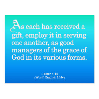 Using Gifts from God 1 Peter 4:10 Postcard