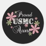 USMC Aunt [fl camo] Round Stickers