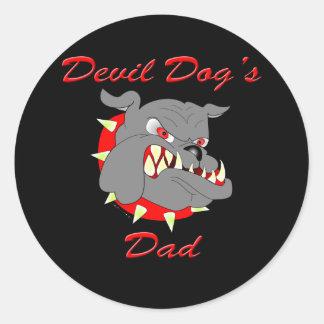USMC Devil Dog's Dad Classic Round Sticker