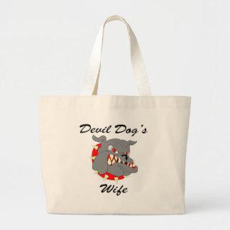 USMC Devil Dog's Wife Large Tote Bag