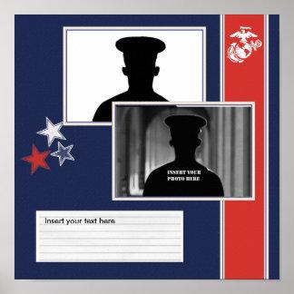 USMC Dress Blues Photo Collage Poster
