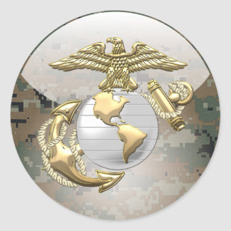 USMC Eagle, Globe & Anchor (EGA) [3D] Classic Round Sticker