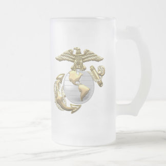 USMC Eagle, Globe & Anchor (EGA) [3D] Frosted Glass Beer Mug
