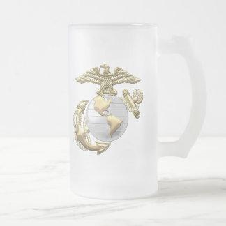 USMC Eagle, Globe & Anchor (EGA) [3D] Frosted Glass Beer Mug
