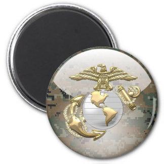 USMC Eagle, globo y ancla (EGA) [3D] Imán Redondo 5 Cm