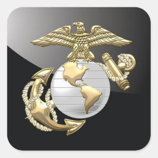 USMC Eagle, globo y ancla (EGA) [3D] Calcomanias Cuadradas