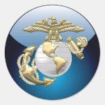 USMC Eagle, globo y ancla (EGA) [3D] Etiquetas Redondas